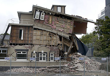 A damaged backpackers hostel is seen after an earthquake in central Christchurch