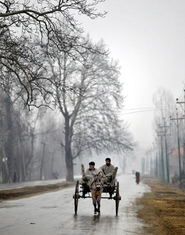 People travel on a mule-driven cart on a cold day in the outskirts of Srinagar