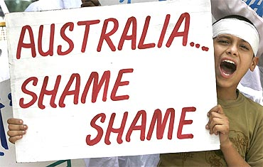 A protest underway against the attacks on Indian students in Australia