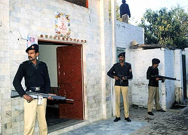 A file photo of Pakistani police guarding a Hindu temple in Multan