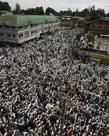 File photo of a protest at Lal Chowk in Srinagar