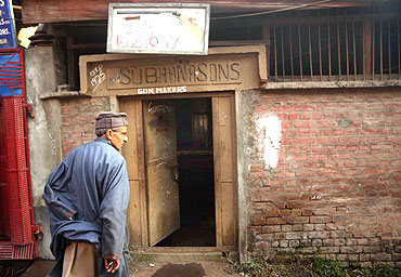 The facade of Subhana and Sons, one of the last gunsmiths in the Kashmir Valley