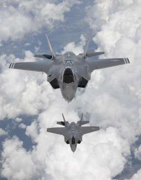 Two Joint Strike Fighter aircraft arrive at Edwards Air Force Base in California