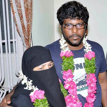 Syed Abdul Kaleem with a family member after his release