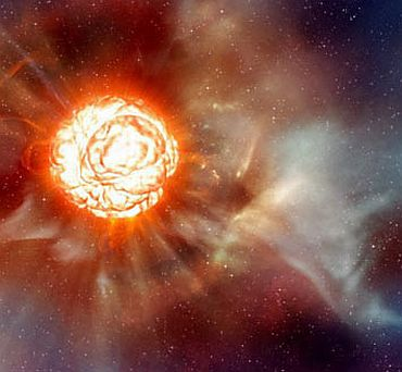 This artist's impression shows the supergiant star Betelgeuse as it was revealed by the Very Large Telescope.