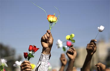 Opposition supporters wave roses during an anti-government protest in Sanaa, Yemen
