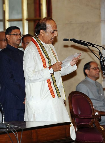 Dinesh Trivedi being sworn in as the Railway Minister.