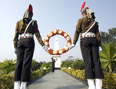Indian soldiers on Vijay Diwas, December 16, to mark the liberation of Bangladesh