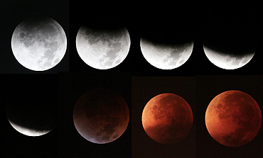 The moon enters into the earth's shadow from fully lit to a total lunar eclipse