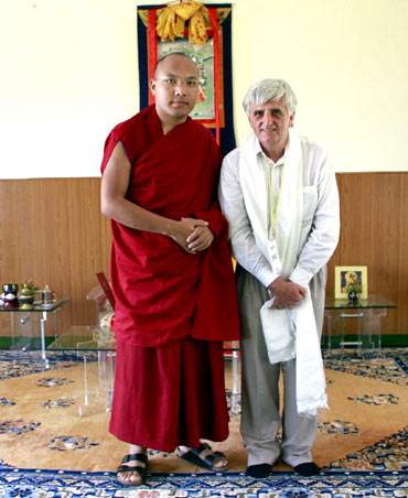 The author Claude Arpi with the Karmapa Lama
