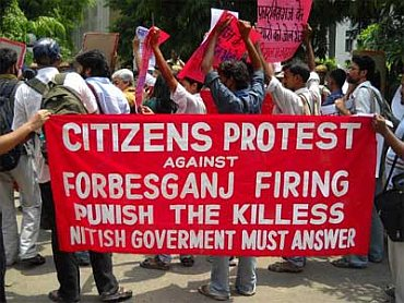 A protest against the police firing in Patna