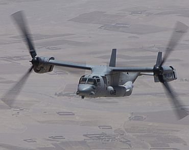 A US Marine Corps V-22 Osprey aircraft flies between Camp Leatherneck and Village Stabilization Platform (VSP) Hyderabad in Helmand Province, Afghanistan. A command contingent from Regional Command Southwest toured VSP Hyderabad, a new International Security Assistance Force outpost in Helmand Province