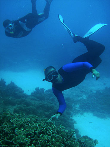 Vassen Kauppaymuthoo, an oceanographer, inspects the coral at Blue Bay Marine Reserve, south of Mauritius
