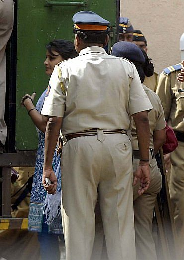 Maria Susairaj leaving the sessions court in Mumbai after she and her boyfriend Emile Jerome were convicted.