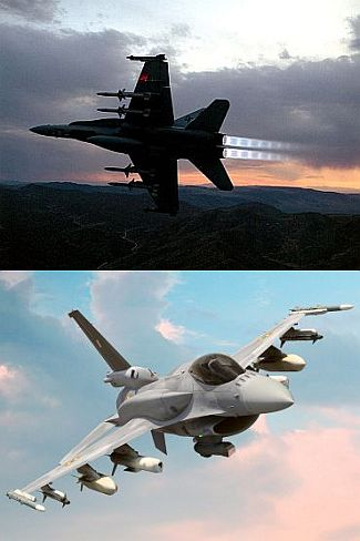 (Above) The Lockheed Martin F16IN. (Below) The Boeing F/A 18IN