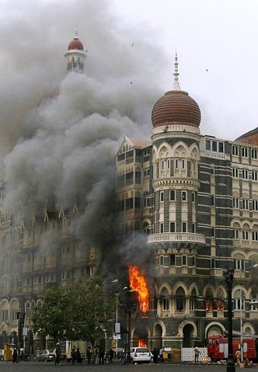 The Taj Mahal hotel, during the 26/11 attacks