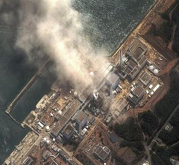 The Number 3 nuclear reactor of the Fukushima Daiichi nuclear plant is seen burning