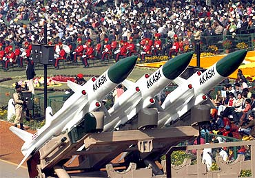 Akash missiles, mounted on a truck, are displayed during the Republic Day parade in New Delhi