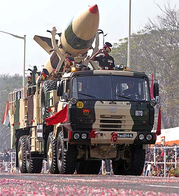 Nuclear capable surface-to-surface Prithvi missile is displayed during the Republic Day parade in Kolkata