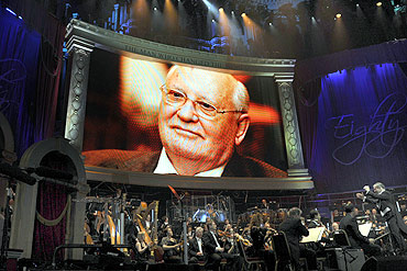 The London Symphony Orchestra play at a concert to honour Mikhail Gorbachev at the Royal Albert Hall