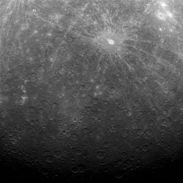 Mercury is seen in the first image ever obtained from a spacecraft in orbit about Mercury, by NASA's Messenger probe