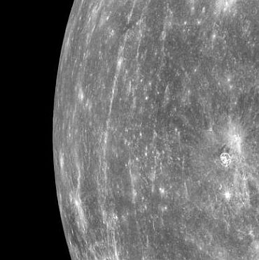 Mercury's horizon is seen from orbit by the probe
