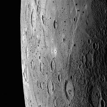 The planet Mercury as seen by the Messenger spacecraft during its October 6, 2008 fly-by. A large region of smooth plains can be seen in the upper portion of this image, extending to the north