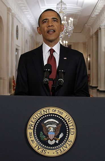 US President Barack Obama making a statement on Osama's death in Washington, DC