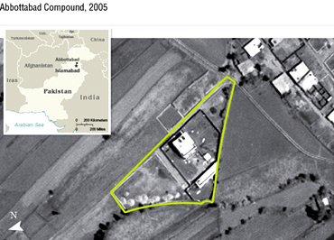 An aerial view, released by the US Department of Defence, shows Osama's compound