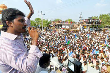 Jagan Reddy addresses a rally in Kadapa