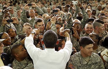 US President Barack Obama greets troops at Fort Campbell in Kentucky