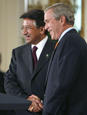 Then Pakistan and US presidents Pervez Musharraf and George W Bush in Washington, DC