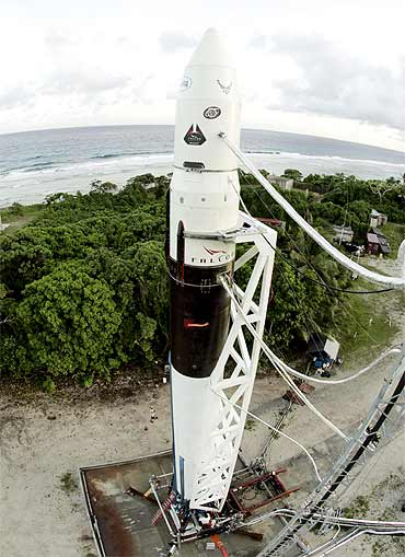 A Falcon 1 rocket sits on the launch pad awaiting liftoff at the U S Military's Ballistic Missile Test Site in Marshall Islands
