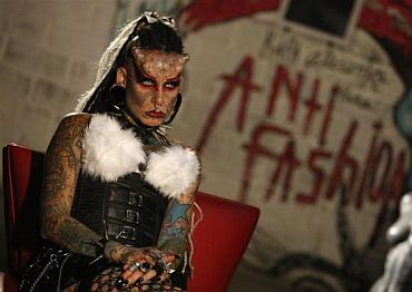 Mexican tattoo and body modification artist Maria Jose Cristerna, also known as 'Mujer Vampiro' (Vampire Woman), attends an exhibition in Guadalajara