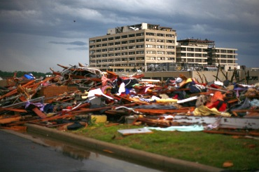 A view of the devastation after a tornado blew the roof off the St. John's Regional Medical Centre