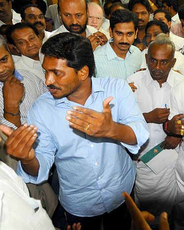Y S Jaganmohan Reddy with his supporters