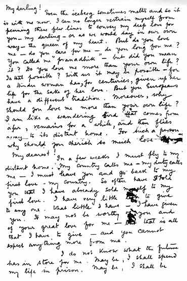 One of the many letters Netaji wrote to his wife.