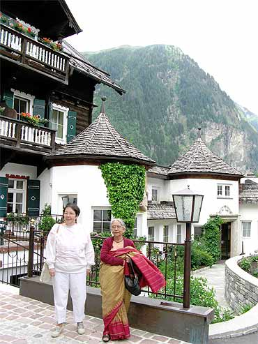Netaji's daughter Anita Bose Pfaff with Krishna Bose, the former MP who was married to Netaji's nephew Sisir Bose,at Badgastein, June 2008. Photograph: Sugata Bose.