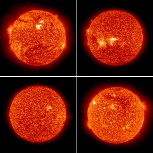 Top left: The sun as on April 29, 1999; Top right: April 29, 2006; Bottom left: April 29, 2008; Bottom right: May 2, 2010