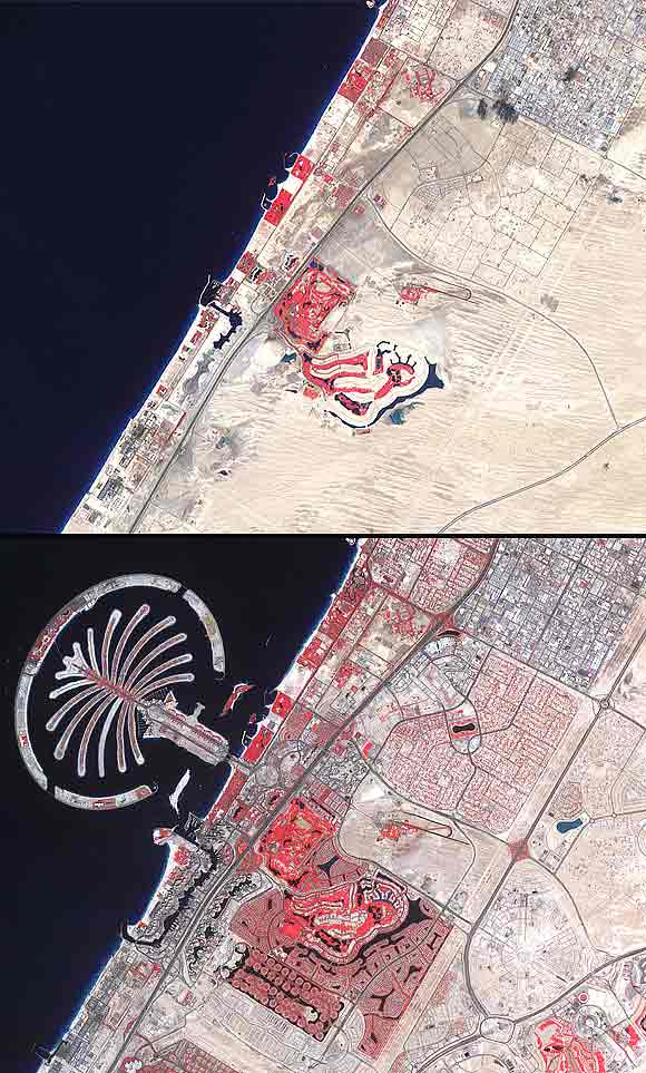 he first image, acquired in November 2000. Bottom image taken on February 2011