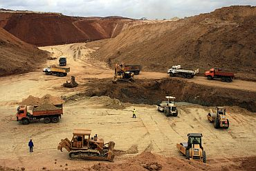 Mining in progress in Bellary district of Karnataka