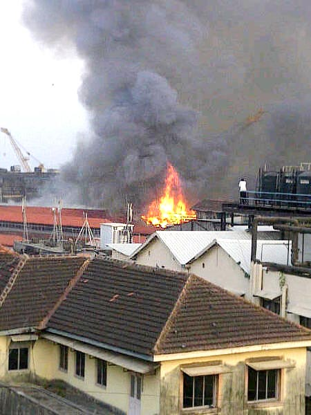 A fire today broke out in a building at the high-security Naval Dockyard