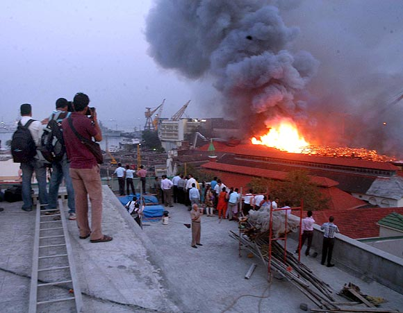 IMAGES: Major fire at Mumbai naval dockyard