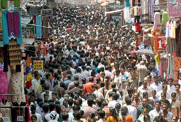 People crowd a marketplace ahead of the festive season in Chennai