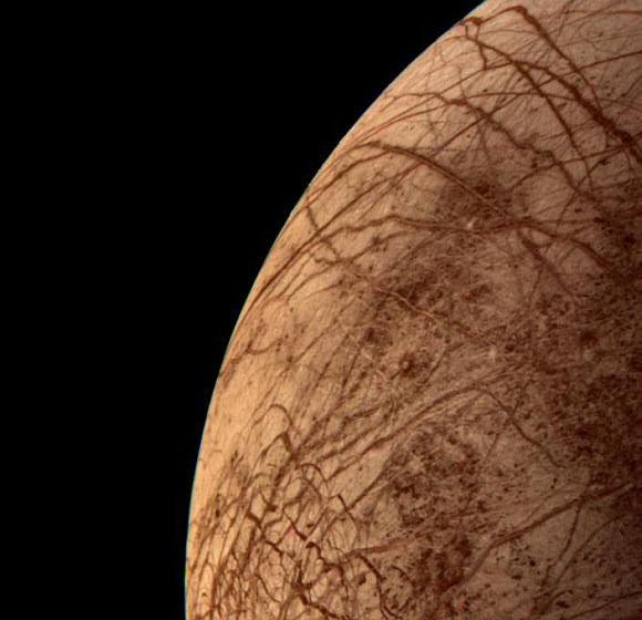 This color image of the Jovian moon Europa was acquired by Voyager 2 during its close encounter on 9 July 1996.
