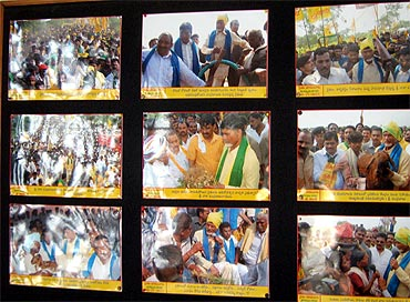 Photographs of Chandrababu Naidu in the office of Telugu Desam Party