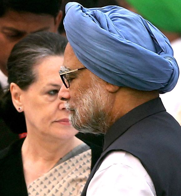 Congress party President Sonia Gandhi and Prime Minister Manmohan Singh