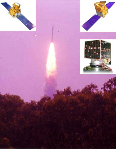 PSLV C-6 (Inset Left) RESOURCESAT-1, (Inset right) CARTOSAT-1 and HAMSAT