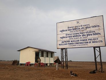 A policeman stands at a kiosk at the proposed site of the Jaitapur nuclear plant in Ratnagiri district of Maharashtra