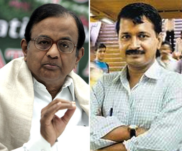 Home Minister P Chidambaram (left) and Arvind Kejriwal (right)